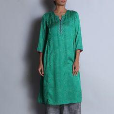 Green Hand Block Printed Modal Viscose Long Kurta With Pintuck Details & Embroidered Neckline Kurta Designs Women, Pin Tucks, Indian Wear, Kaftan, Tunic Tops, Neckline, Printed, Green, How To Wear