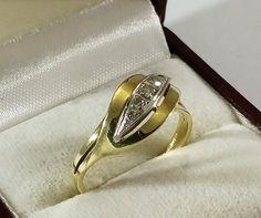 Vintage Ringe Ring Gold 333 Perle Rubin Vintage 50er Jahre GR173