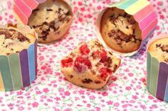 Muffins aux framboises et chocolat