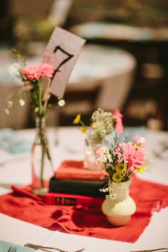 vintage-inspired centerpiece arrangement, photo by Q Avenue Photo http://ruffledblog.com/travellers-rest-nashville-wedding #weddingideas #reception #centerpieces