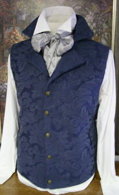 HnaS waistcoat blue pattern ASCOT!  Regency period waistcoat. #regency romance.  I just love regency clothing both men's & women's. Wonderful lines and details in the clothing.