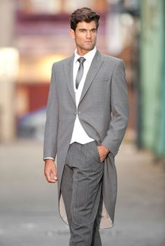 Light grey prince of wales light weight wool morning suit - click ...