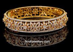 Gold diamond bangle love