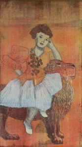 Immonen Teija  Kesytetty / Become tame Puupiirros-mokulito/ Woodcut-mokulito, 70 x 45 cm, 2015