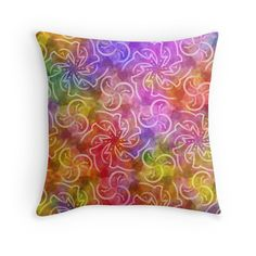 """Rainbow's whirlwinds"" Throw Pillows by floraaplus 
