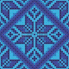 Kreuzstich blaue Blumen-Ornament nahtlose Hintergrund Stockfoto - 35283197