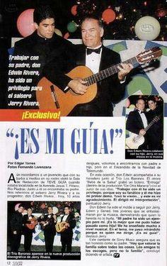 """Jerry junto a su amado y talentoso padre el señor Edwin """"Pino"""" Rivera"""