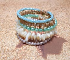 Memory Wire Bracelet With Mix Of Mother Of Pearl Shell And Glass Pearl