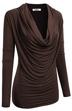 2LUV Womens 34 Sleeve Cowl Neck Draped Blouse Top Dark Brown L *** Read more reviews of the product by visiting the link on the image.Note:It is affiliate link to Amazon.