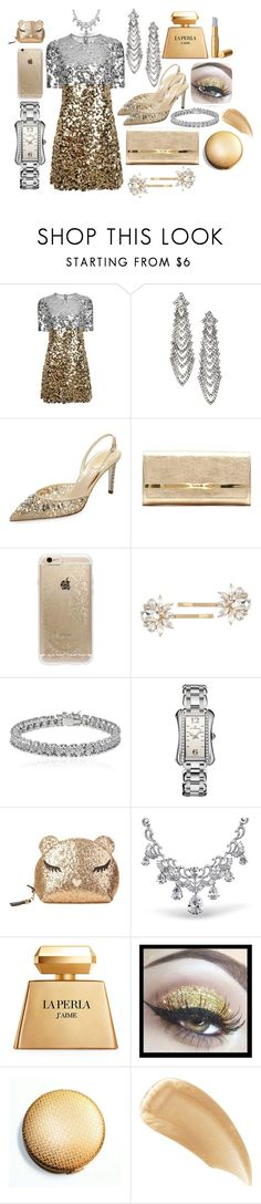 """Golden Lady"" by unusualengagementringsreview ❤ liked on Polyvore featuring Dolce&Gabbana, René Caovilla, Jimmy Choo, Rifle Paper Co, Trina Turk, Apples & Figs, Carl F. Bucherer, Furla, Bling Jewelry and La Perla"