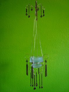 Recycled Elegance Hanging Candle Holder by whimsicalwire on Etsy, $75.00