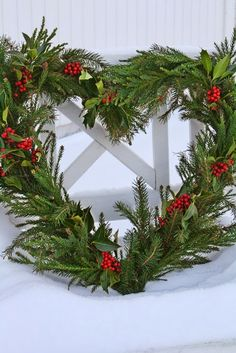 Heart Christmas Wreath with Fresh Greens and Holly