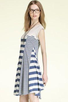 Sleeveless Striped Bound Waist Dress OASAP.com