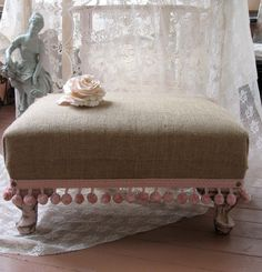 Tan and pink foot stool Shabby Chic Burlap Foot stool / Burlap Ottoman/ by Fannypippin, $58.00