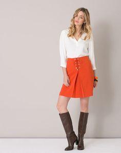 1.2.3 Paris - Les looks automne - hiver 2016 - #Jupe #orange avec oeillets Jenny 89€ #123paris #mode #fashion #shopping #skirt #seventies