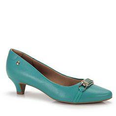 Sapato Scarpin Conforto Feminino Usaflex by Perfetto - Verde Kitten Heels, Christian Louboutin, Gems, Shoes, Passion, Women's Booties, Cat Walk, Heel, Comforters