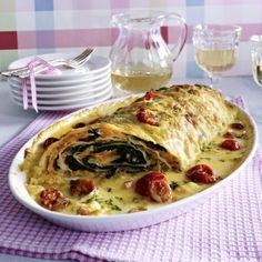 Pastarolle mit Räucherlachs-Spinat-Füllung Rezept