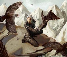 Human falconer at her perch