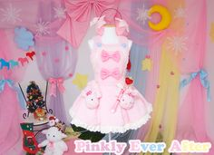 """Pinkly Ever After presents special magical set to transforn you into the cutest magical girl~!!!☆ The set includes salopette/JSK and the magical wand~ > 3< ☆♪♬ The salopette/JSK is made of fluffy twinkling baby pink fabric and fuzzy cream laces♡ Bust is free size and waist is custom-made(24""""-5..."""