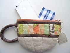 Quilted Zippered Pouch / Wristlet by OliveTreeandCo on Etsy, $22.00