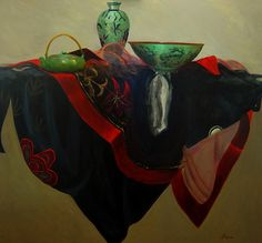 Petra Reece Still Life with Black Kimono - 2013 Oil on linen 112 x 122 cm Black Kimono, Petra, Still Life, Oil On Canvas, Artist, Painting, Painting Art, Paintings, Painted Canvas
