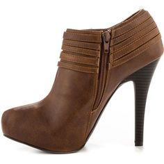 G by Guess Women's Lazer - Med Brown LL ($65) ❤ liked on Polyvore featuring shoes, boots, ankle booties, buckle ankle boots, brown high heel boots, faux leather booties, high heel booties and brown leather booties