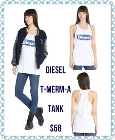 Scoop neck, sleeveless, logo print to chest super cute and easy Diesel tank top!! Available sizes XS-L