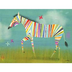 A colorful zebra strolls through the brush on a hot summer's day on this stretched canvas piece.<br><br>The Oopsy Daisy Rainbow Zebra Canvas Wall Art - 14 Inch x 10 Inch Features:<br><ul><li>Canvas wall art gallery stretched around a 1 Inch wood frame.</li><br><li>Sawtooth included for easy hanging.</li><br><li>Easy to clean. </li></ul>