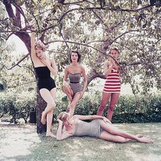 Sandy Brown, Carmen Dell'Orefice, Maria Mercedes and Dorothy Tristan for Look by Milton Greene c. 1950s