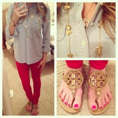 Red, nude & chambray #toryburch #jcrew