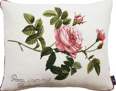 Cushion 40x50cm Rosa Centifolia - Redoute. Woven jacquard, made in France by Tissage Art de Lys