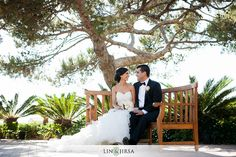 Terranea Resort Rancho Palos Verdes Wedding | Ali & Sheri                        (I like the scenery in this picture though it's hard for me to say why.  The tree, the shrubs, the bench and the couple all seem to work in this picture.)