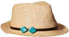 Scala Women's Matte Raffia Fedora Hat