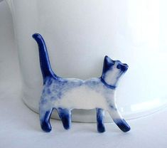 Handpainted Delft porcelain Brooch   Siamese Cat by HarrietDamave, $45.00