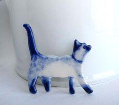 Handpainted Delft porcelain Brooch   Siamese Cat by HarrietDamave, $45.00