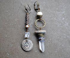Asymmetrical earrings Mismatched Earrings Artisan Ceramic