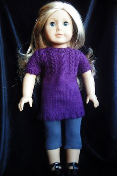 """Ravelry: Cabled Sweater Dress for 18"""" Dolls pattern by Rebekah Radewahn $4.00"""