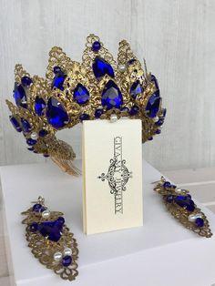 c2585143b87b Antique gold crown~Gold blue set~Blue сrystals сrown~Blue gold crown~Blue crystal  crown~