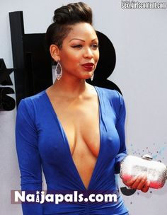 23 hot meagan good sexy blue dress big cleavage no bra hard nipples 40chb