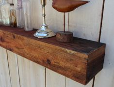 Reclaimed Wood - Floating Wall Shelf - Farmhouse Chic - Shelves - Old Wooden Shelving - 28 Inches Long via Etsy