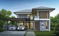 Modern 2 storey house designs philippines small house design with floor plan modern 2 storey house Two Storey House Plans, Double Storey House, 2 Storey House, 4 Bedroom House Designs, 4 Bedroom House Plans, Garage House Plans, 2 Story House Design, Small House Design, Home Design Floor Plans