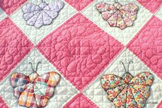 Antique 1930's Butterfly Quilt Hand Pieced and Hand Quilted at 9 Stitches per Inch