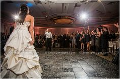 Awesome shot of this groom calling his bride over for their first dance. #wedding #fun #photography #dance #bride #groom #reception #love