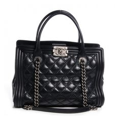 CHANEL Calfskin Quilted Double Stitch Large Boy Tote Black ❤ liked on Polyvore featuring bags, handbags, tote bags, totes, chain-strap handbags, chanel purse, quilted purses, quilted tote and chanel
