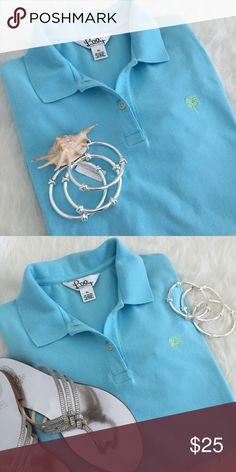 Lilly Pulitzer Polo Shirt So Lilly! Beautiful Blue Lilly Pulitzer short sleeve two button polo shirt. Excellent pre worn condition with more Lilly love to give. Gorgeous pale blue color-shirt fits more like a large.!! No Trades. TB1152. Lilly Pulitzer Tops