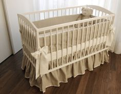 Linen Crib  Bedding - 5 pieces (Bed skirt, bumper, fitted sheet, duvet cover, pillow case). $380.00, via Etsy.