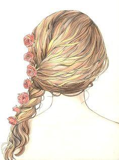 art, drawings, braid, cute, drawing, desenho, paint, tumblr girl, flowers, girly, romantic, tumblr