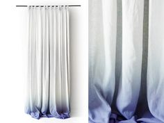 White Linen curtain panel Ombrè Blue fade to white. Pinch pleat Number 3 by Lovely Home Idea.