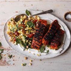 Lemon Parmesan Salmon with Corn, Tomato, and Avocado Salad. Because I love a good Monday night dinner that's easy. Tomato Salad, Avocado Salad, Good Monday, Monday Night, Bbq Baked Beans, Parmesan Salmon, Chickpea Curry, Corn Salads, Salmon Recipes