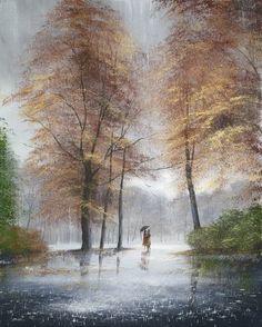 Beautiful Drawings, Beautiful Paintings, Beautiful Landscapes, Landscape Paintings, Watercolor Paintings, Rain Art, Umbrella Art, Caribbean Art, Funky Art